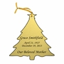 Christmas Tree Double-Sided Memorial Ornament - Engraved - Gold