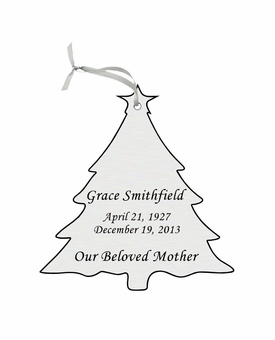 Christmas Tree Double-Sided Memorial Ornament - Engraved - Silver