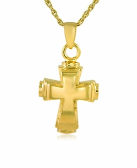 Classic Cross Gold Vermeil Cremation Jewelry Pendant Necklace