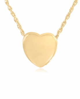 Classic Heart Gold Vermeil Cremation Jewelry Pendant Necklace