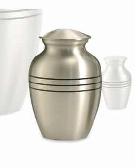 Classic Pewter Brass Extra Small Cremation Urn - Engravable