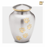 Classic Pewter Paw Print Large Pet Cremation Urn