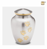 Classic Pewter Paw Print Medium Pet Cremation Urn