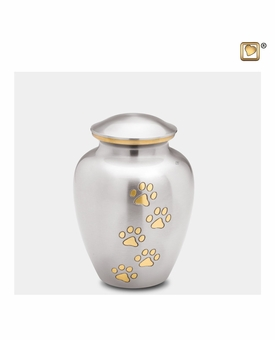 Classic Pewter Paw Print Small Pet Cremation Urn