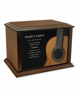 Classical Guitar Eternal Reflections Wood Cremation Urn - 3 Sizes