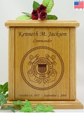 Coast Guard Engraved Wood Cremation Urn