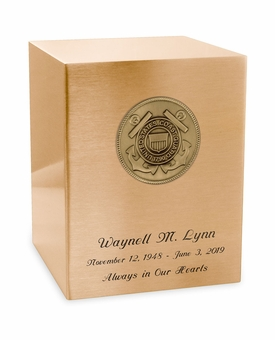 Coast Guard Medallion Seamless Bronze Cremation Urn