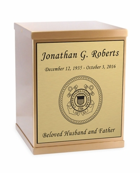 Coast Guard Sheet Bronze Overlap Top Cremation Urn with Engraved Plate