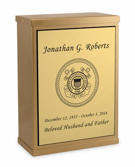 Coast Guard Sheet Bronze Overlap Top Niche Cremation Urn with Engraved Plate