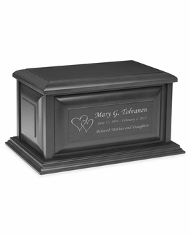 Colonial Midnight Black Finish MDF Wood Cremation Urn