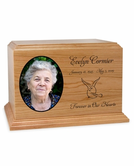 Color Photo Ambassador Solid Cherry Wood Cremation Urn