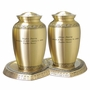 Companion Athena Bronze Brass Cremation Urn with Hearts Base