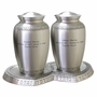 Companion Athena Pewter Brass Cremation Urn with Hearts Base
