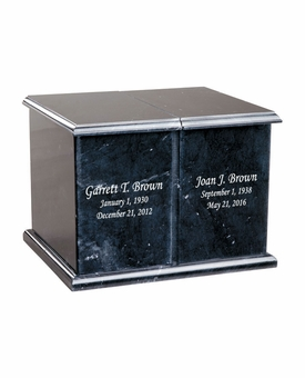 Companion Black Marble Engravable Cremation Urn