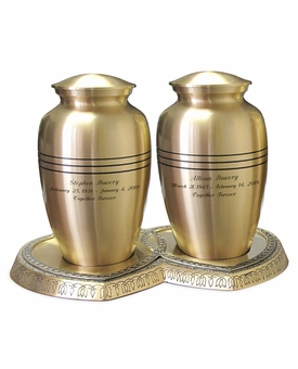 Companion Classic Bronze Brass Cremation Urn with Hearts Base