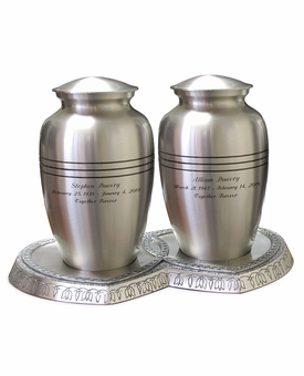 Companion Classic Pewter Brass Cremation Urn with Hearts Base