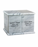 Companion White Marble Engravable Cremation Urn