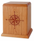 Compass Rose Cherry Wood Newport Laser Carved Cremation Urn