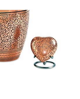 Copper Oak Heart Brass Keepsake Cremation Urn