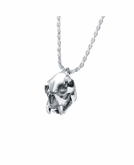 Cougar Skull Sterling Silver Cremation Jewelry Pendant Necklace