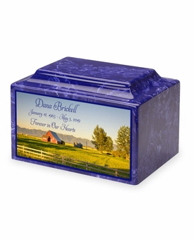 Country Barn Eternal Reflections Cultured Marble Cremation Urn Vault - 34 Color Choices