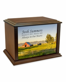 Country Barn Eternal Reflections Wood Cremation Urn - 4 Sizes