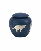 Country Blue Silhouette Cat Cremation Urn