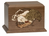 Country Lane Dimensional Walnut Wood Cremation Urn