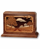 Country Lane Dimensional Wood Cremation Urn - Engravable