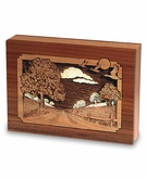 Country Lane Dimensional Wood Keepsake Cremation Urn - Engravable