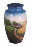 Country Scene Hand Painted Cremation Urn