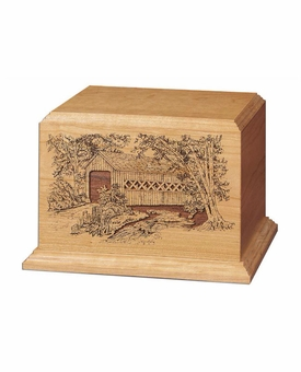 Covered Bridge Cherry Wood Cremation Urn
