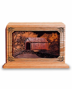 Covered Bridge Dimensional Wood Cremation Urn - Engravable