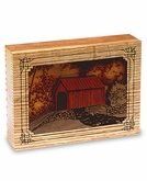 Covered Bridge Dimensional Wood Keepsake Cremation Urn - Engravable