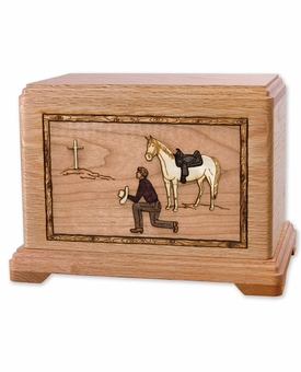 Cowboy and Horse with 3D Inlay Oak Wood Hampton Cremation Urn