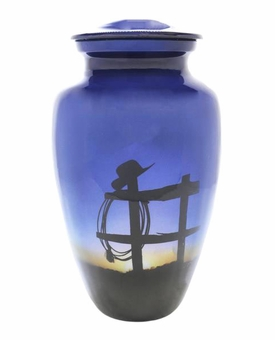 Cowboy Farewell Picture Cremation Urn