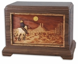 Cowboy in the Desert with 3D Inlay Walnut Wood Hampton Cremation Urn