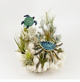 Crab and Turtle Over Coral Cremains Encased in Glass Cremation Sculpture