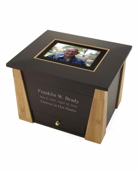 Craftsman Photo MDF Wood Memory Chest Cremation Urn