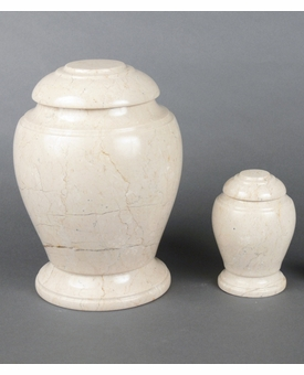 Cream Travertine Marble Cremation Urn