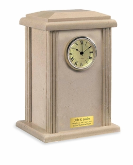 Cream Wash Clock Tower Marble Cremation Urn