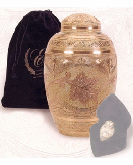 Cream Wash Leaf Brass Cremation Urn