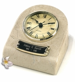 Cream Wash Mini-Clock Marble Keepsake Cremation Urn