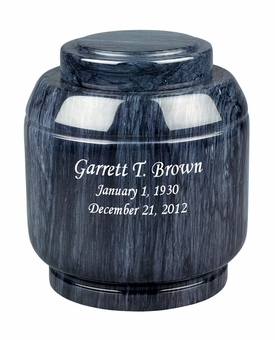 Crest Black Marble Engravable Cremation Urn