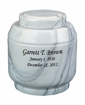 Crest White Marble Engravable Cremation Urn