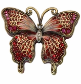 Crimson Jeweled Butterfly Keepsake Cremation Urn