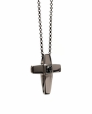 Cross Black Rhodium Silver Cremation Necklace Pendant With Black Onyx Stone