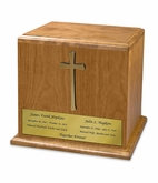 Cross Cherry Wood Companion Cremation Urn