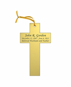 Cross Double-Sided Memorial Ornament - Engraved - Gold