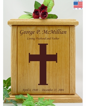 Cross Engraved Wood Cremation Urn